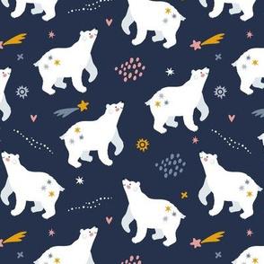 Night walk. Cute polar bears and stars. Medium scale