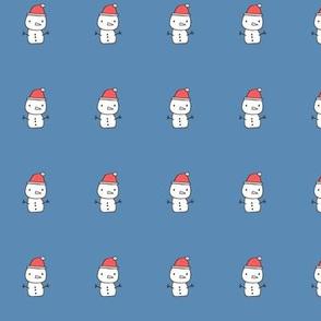Holidays Christmas Winter Snowman Plush Plushie Softie Cut & Sew 1 inch Blue background