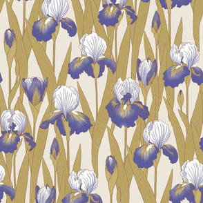 Irises in violet and antique gold