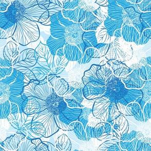 Flowers of peony - blue