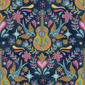 Guitar & swallow  Embrodery Style