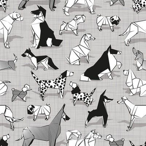 Small scale // Origami doggie friends II // grey linen texture background black and white paper dogs