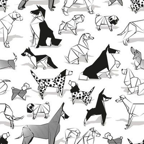 Small scale // Origami doggie friends II // white background black and white paper dogs