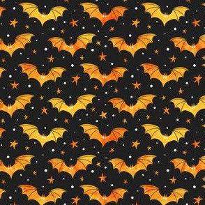 Watercolor Bats Orange on Black 1/2 Size