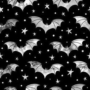 Watercolor Bats Grey on Black
