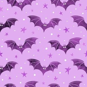 Watercolor Bats Purple