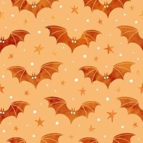 Watercolor Bats Orange