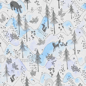 Watercolor Woodland in Blues