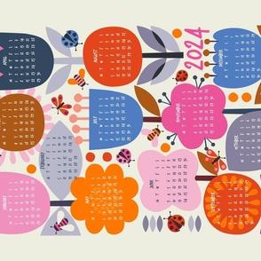 Tea Towel calendar 2021 retro flowers