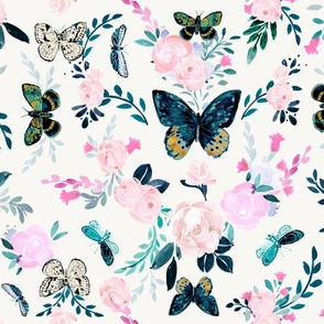 Butterfly floral white - M