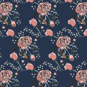 Winter Rose-Vine dark -  large scale