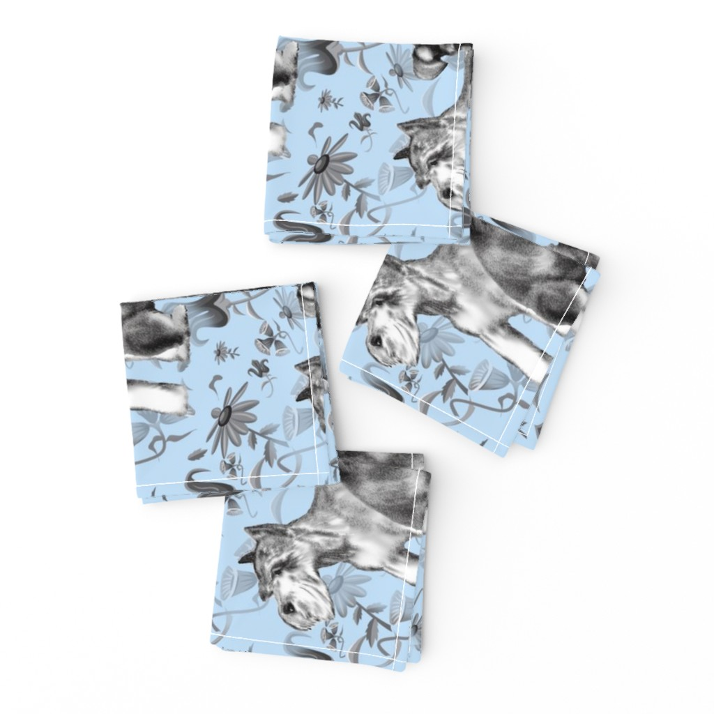Frizzle Cocktail Napkins featuring schnauzers in the flower garden by dogdazedesigns
