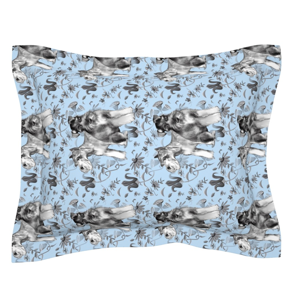 Sebright Pillow Sham featuring schnauzers in the flower garden by dogdazedesigns