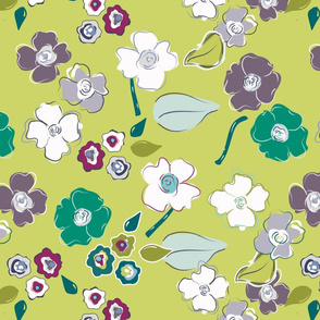 green white blue whimsical floral terriconraddesigns