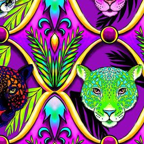 neon jungle jaguar ogee, LARGE scale