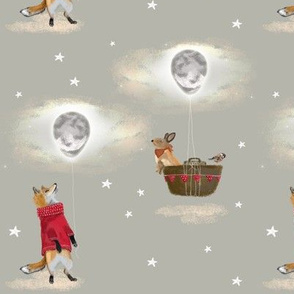 Fox in Jumper and Bunny Rabbit with Moon Balloon & Stars, beige cream MED