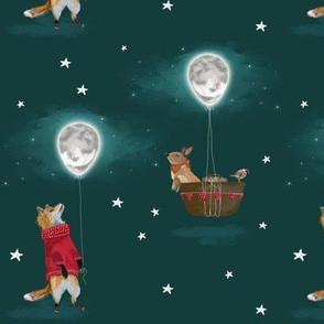 Fox in Jumper and Bunny Rabbit with Moon Balloon & Stars, green teal MED