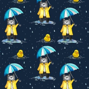 Bear in a Raincoat in the Rain with Umbrella and Yellow Duck Navy MED