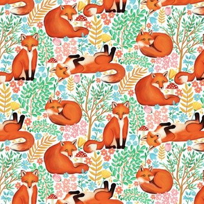 Little Foxes in a Fantasy Forest on White - Tiny Scale