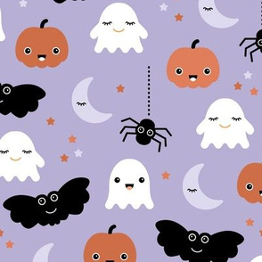 Cute ghosts pumpkin faces moon stars adorable bats and spiders happy kawaii halloween lilac orange LARGE