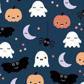 Cute ghosts pumpkin faces moon stars adorable bats and spiders happy kawaii halloween orange navy blue LARGE