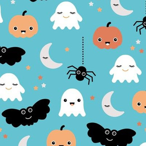 Cute ghosts pumpkin faces moon stars adorable bats and spiders happy kawaii halloween orange aqua blue LARGE