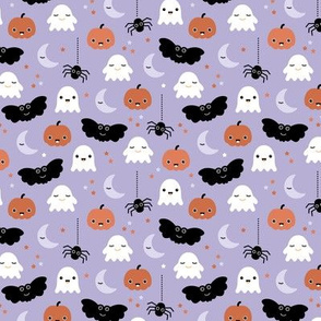 Cute ghosts pumpkin faces moon stars adorable bats and spiders happy kawaii halloween lilac purple orange girls SMALL