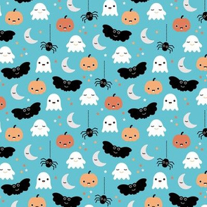 Cute ghosts pumpkin faces moon stars adorable bats and spiders happy kawaii halloween orange aqua blue SMALL