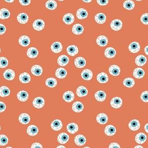 Curious eyeball bloody eye ball halloween spooky funny design orange blue