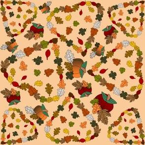 Falling Leaves Heart Fall Wedding Fabric
