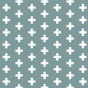 Small White Crosses on Black - Egg Blue Plus Signs