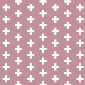 Small White Crosses on Mauve - Mauve Plus Signs