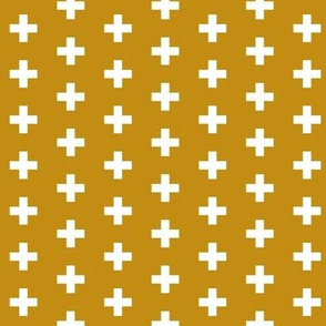 Small White Crosses on Mustard - Mustard Plus Signs
