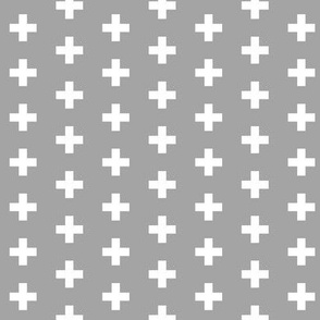 Small White Crosses on New Grey - New Grey Plus Signs