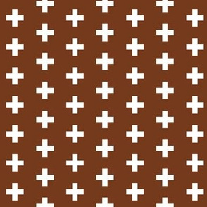 Small White Crosses on Dark Copper - Dark Copper Plus Signs