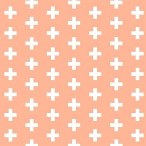 Small White Crosses on Peach - Peach Plus Signs