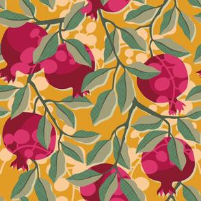 Retro pomegranate / Large scale / Bordeaux, green, mustard