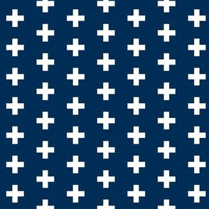 Small White Crosses on Navy - Navy Plus Signs