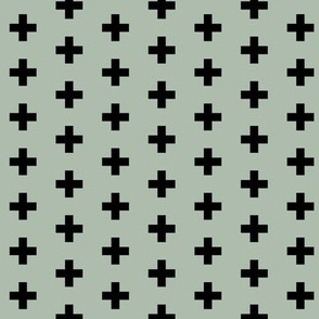 Small Black Crosses on Seafoam - Black Plus Sign - Small Version