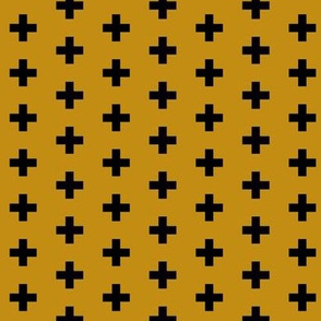 Small Black Crosses on Mustard - Black Plus Sign - Small Version