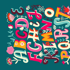 flowering alphabet // teal