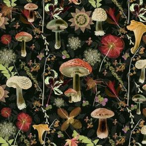 mushroom garden dark floral garden