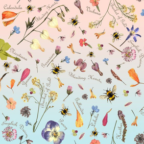 Botanical Flowers Names w Bees