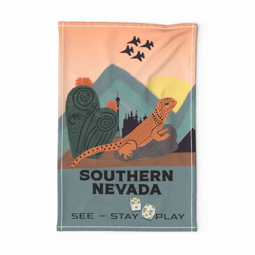 Southern Nevada Vintage Travel Poster Tea Towel