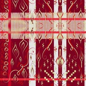 Red and gold princess sari plaid by Su_G_©SuSchaefer