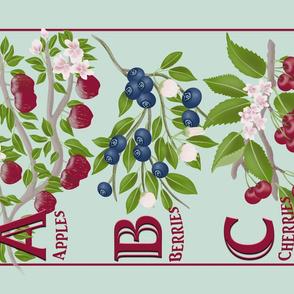 ABC.Apples.Berries.Cherries Tea Towel