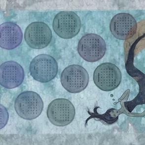 Mermaid Calendar Tea Towel with Bubbles