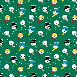 Little snowman and winter hats christmas seasonal holiday snow design green