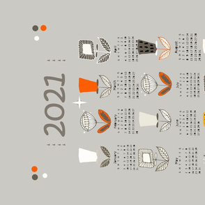 Mod Flower Tea Towel 2021 Calendar Grey