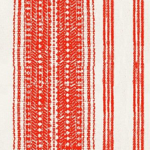 thick red stripes on linen